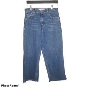 Zara Cropped Raw Hem Jeans